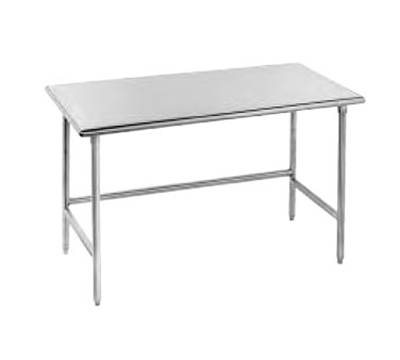 "Advance Tabco TGLG-488 96"" Work Table - Galvanized Legs, 48"" W, 14-ga 304-Stainless"