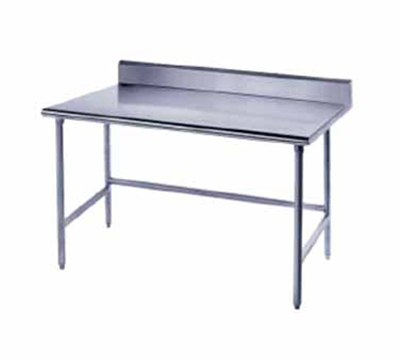 "Advance Tabco TKAG-306 72"" Work Table - Galvanized Legs, Rear Splash, 30"" W, 16-ga 430-Stainles"