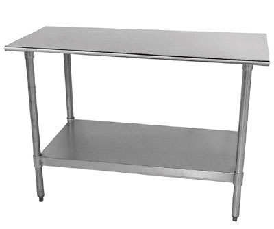 "Advance Tabco TT-244 48"" Work Table - Galvanized Frame, 24"" W, 18-ga 430-Stainless Top"