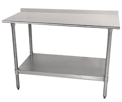 "Advance Tabco TTF-306 72"" Work Table - 1.5"" Rear Splash, 30"" W, 18-ga 430-Stainless Top"
