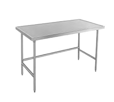 "Advance Tabco TVLG-249 108"" Work Table - Galvanized Legs, Non-Drip Edge, 24"" W, 14-ga 304-Stainless"