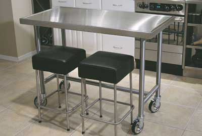 "Advance Tabco TVSS-306RE 72"" Residential Chef Table - Bullet Feet, Non-Drip Edge, 30"" W, 14-ga 304-Stainless Top"
