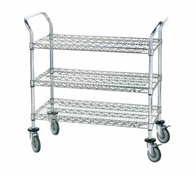 "Advance Tabco WUC-2436R Wire Utility Cart - (3) Shelf, 24x36"", Rubber Casters, Chrome Finish"