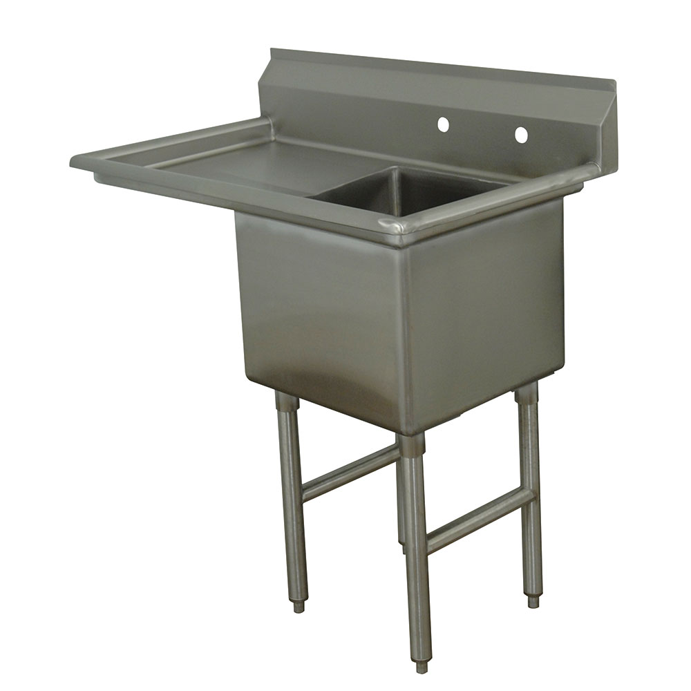 "Advance Tabco FC-1-1620-18L Fabricated Sink - 18"" Left Drainboard, 1-Comparement, Stainless St"