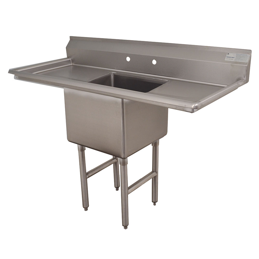 "Advance Tabco FC-1-1620-18RL Fabricated Sink - 18"" Drainboard, 16x20"