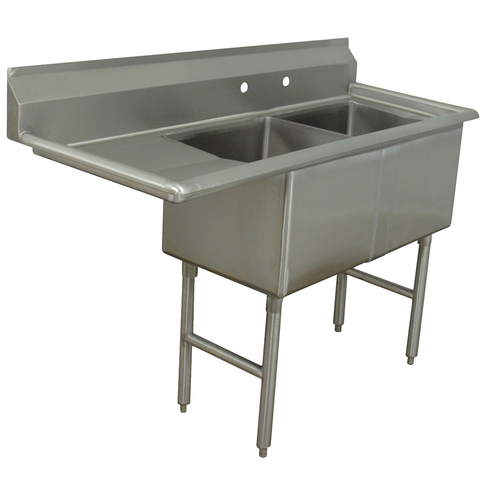 "Advance Tabco FC-2-1620-18L Fabricated Sink - 18""Left  Drainboard, 2-Bowl, 16-ga 304-Stainless"