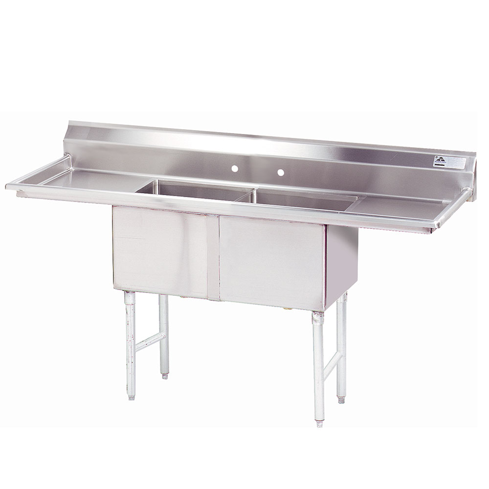 "Advance Tabco FC-2-1620-18RL Fabricated Sink - 18"" Right-Left Drainboard, 2-Bowl, 304-Stain"