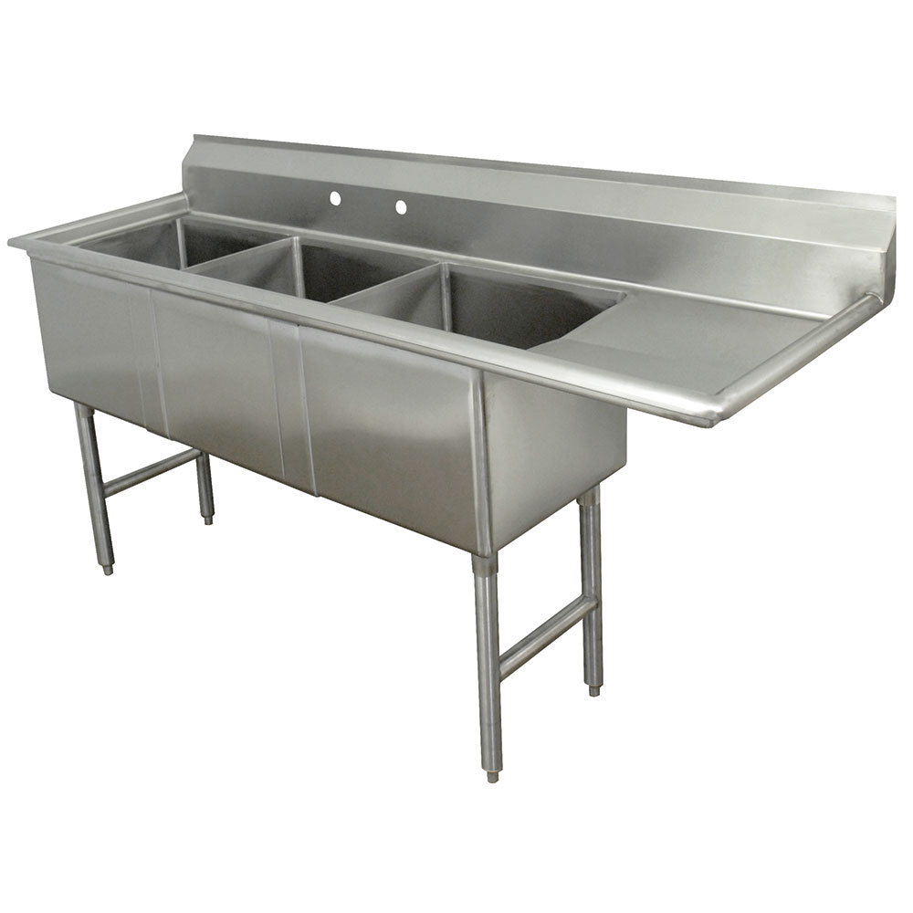 "Advance Tabco FC-3-1620-18R Fabricated Sink - 18"" Right Drainboard, 3-Bowl, 304-Stainless Steel, LR"