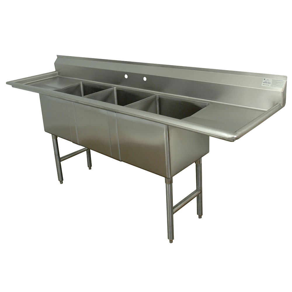 "Advance Tabco FC-3-162024RL Fabricated Sink - 24"" Right-Left Drainboard, 3-Bowl, 304-Stainless Steel, LR"