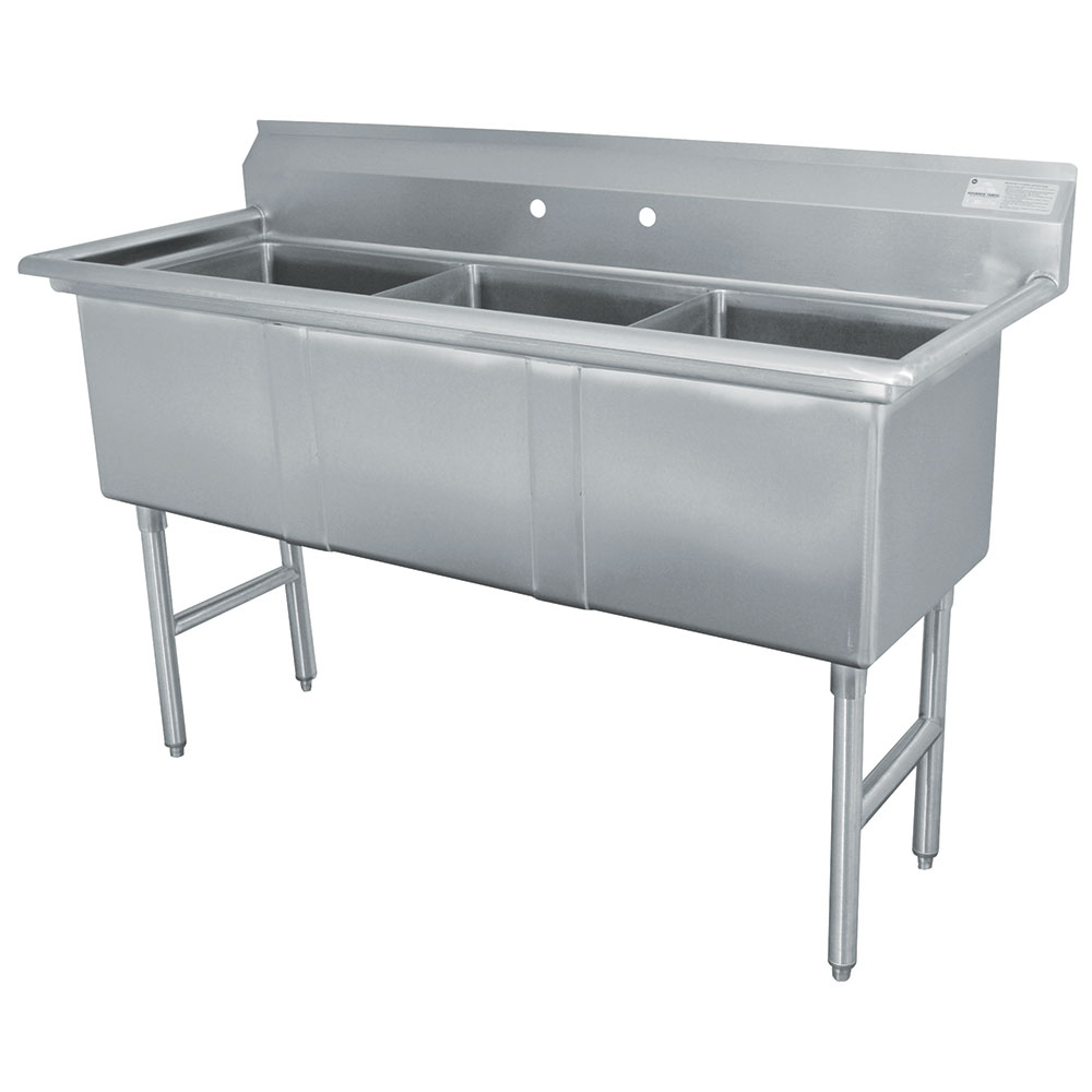 "Advance Tabco FC-3-1620 Fabricated Sink - (3)16x20x14"" Bowl, 16-ga 304-Stainless Steel, LR"