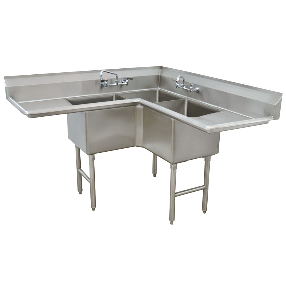 "Advance Tabco FC-K6-18D Fabricated Corner Sink - 18"" Right-Left Drainboard, 3-Bowl, Stainless Steel"