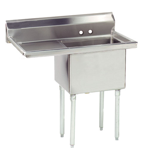 "Advance Tabco FE-1-1824-24L Fabricated Sink - 24"" Left Drainboard, 1-Bowl, 18-ga 304 Stainless Steel"