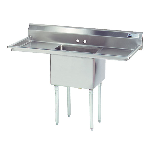 "Advance Tabco FE-1-1824-24RL Fabricated Sink - 24"" Right-Left Drainboard, 1-Bowl, 18-ga 304 Stainless Steel"