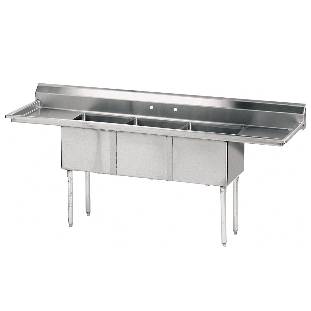 "Advance Tabco FE-3-1812-24RL Fabricated Sink - 24"" Right Drainboard, 3-Bowl, 18-ga 304 Stainless Steel"