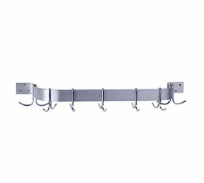 Advance Tabco GW-96 Pot Rack Wall Mounted Single Bar 96 in L 18 DBL Plated hooks Galv Steel Restaurant Supply