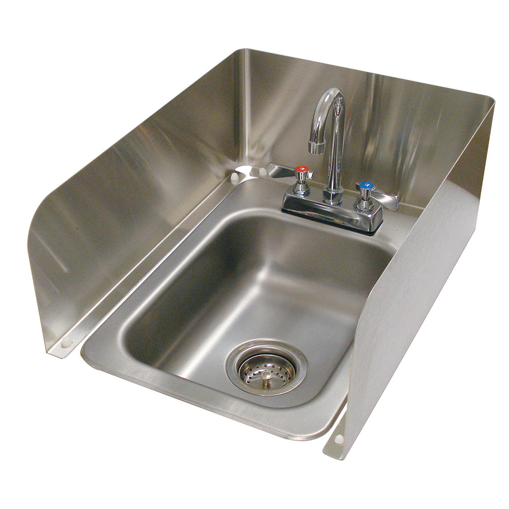 "Advance Tabco K-614 3-Sided Splash - Removable, For Counter Mounted Drop In Sink, 8"" Tall"
