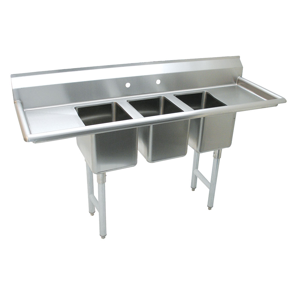 "Advance Tabco K7-CS-21 Convenience Store Sink - (3) 14x10x10"" Bowl, 11.5"" L-R Drainboards, Stainless"