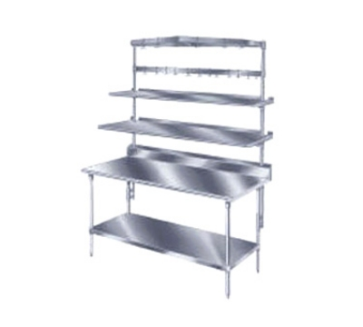 Advance Tabco PT-15S-108 Table Mounted Shelf Single Deck 15 in W 108 in L SS Splash Mounted Restaurant Supply