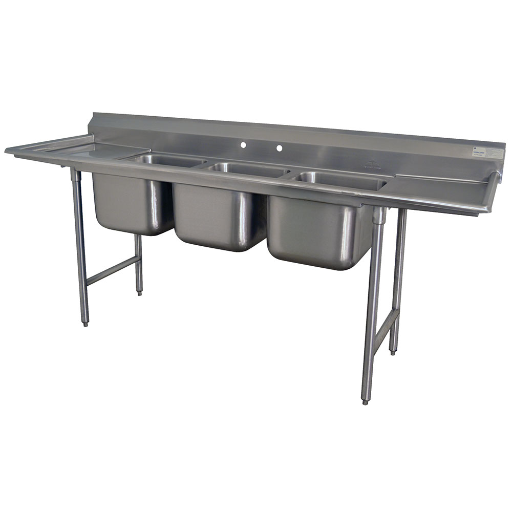 Advance Tabco T9-83-60-18RL-X 103 in SS Sink 3 Compartment Right & Left Drainboards Restaurant Supply