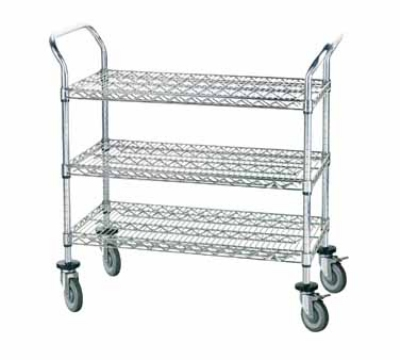 Advance Tabco WUC-2442P Wire Utility Cart 42 x 24 in Open 3 Shelves 4 Swivel Poly Casters Restaurant Supply