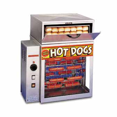 APW Wyott DR-2A Hot Dog Broiler, Bun Warmer, 150-Franks/Hr, 36-Buns, 120 V