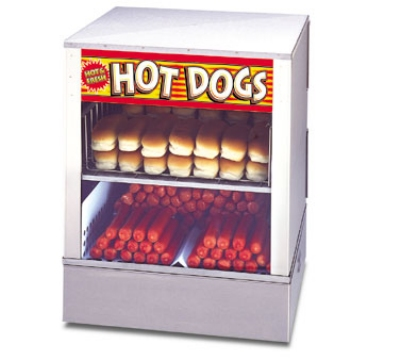 APW Wyott DS-1A 240 Hot Dog Steamer and Bun Warmer, 150 Franks, 60 Buns, Rear Door, 240 V