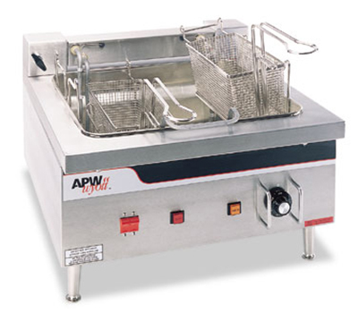 APW Wyott EF-30INT 30-lb Dual Pot Fryer - Thermostatic Controls, Export