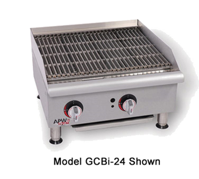"APW Wyott GCRB-18I 18"" Countertop Char-Rock Charbroiler - Cast Iron Grate, LP"