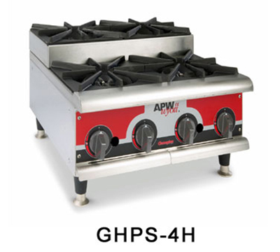 APW Wyott GHPS-4I-CE 4-Burner Step-Up Hot Plate - Manual Control, Stainless, Export, LP
