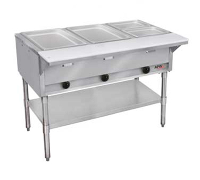 APW Wyott GST-2S-LP 2-Well Steam Table w/ Stainless Liner, Legs & Undershelf, LP