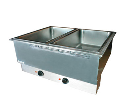 APW Wyott HFWAT-2D 2-Pan Drop In Hot Food Well, Drain & Attached Control, 240 V