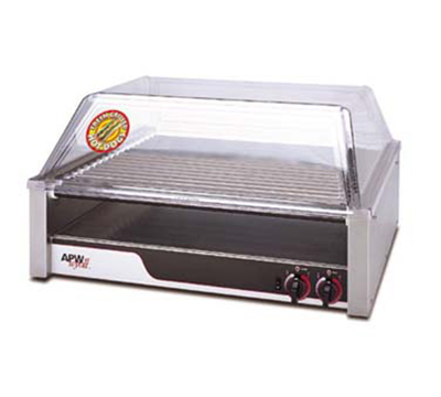 APW Wyott HR-50 HotRod Hot Dog Roller Grill, 34-3/4 x 18-3/8 in, Chrome Rollers, 208 V