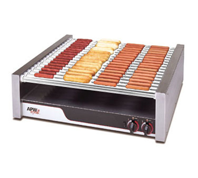 APW Wyott HR-85 Hot Dog Grill, Chrome Rollers, 1400-Franks, 240 V