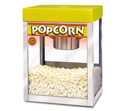 APW Wyott MPC-1A 6-8 oz Kettle Popcorn Popper, Stainless, Yellow Enamel Top, 120 V