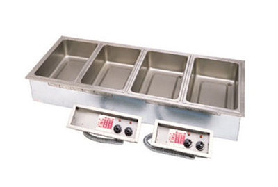 APW Wyott SHFWEZ-4D Drop In Hot Food Well, Drain, 4-Full Pan Size, Thermostatic, 208/3