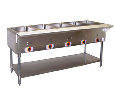 APW Wyott PSST-5S Portable Hot 5-Well Steam Table, Sealed Well, Stainless Legs