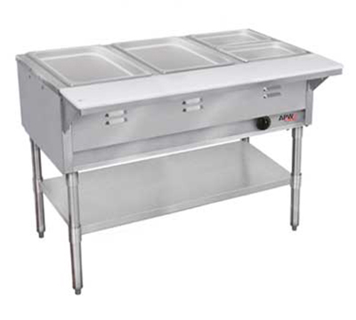 APW Wyott WGST-3S-LP 3-Well Steam Table w/ Wet Bath, Stainless Liner, Legs & Undershelf, LP