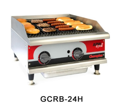 APW Wyott GCRB-36H NG 36 in Champion Countertop Char-Rock Broiler Cast Iron Grates NG Restaurant Supply