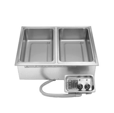 APW Wyott HFW2D Wet Dry Drop-In Hot Food Well Unit w/ 2-Pan Size, Infinite Controls