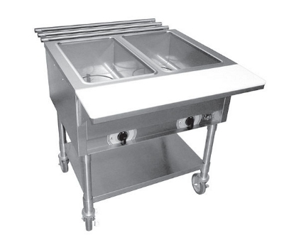 APW Wyott ST2 Stationary Steam Table, 2-Exposed Wells & Coated Steel Legs, 120 V