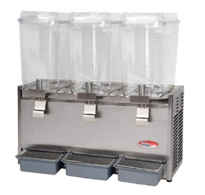 BakeMax BMCDD05 Triple Cold Drink Dispenser w/ 5-gal Capacity per Tank, Front Drip Tray