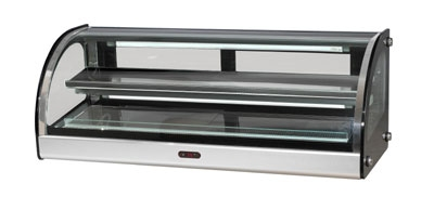 BakeMax BMCHD01 36-in Curved Heated Showcase w/ 2-Display Tiers & Rear Sliding Glass Doors