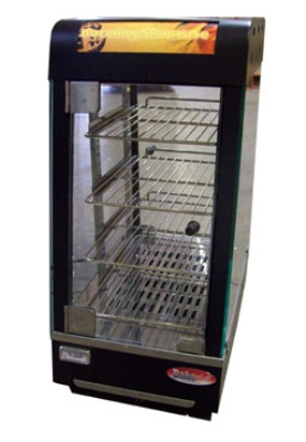BakeMax BMCHS01 Heated Showcase w/ 1-Door & 3-Shelves, 4-Side Glass Viewing, Black Casing