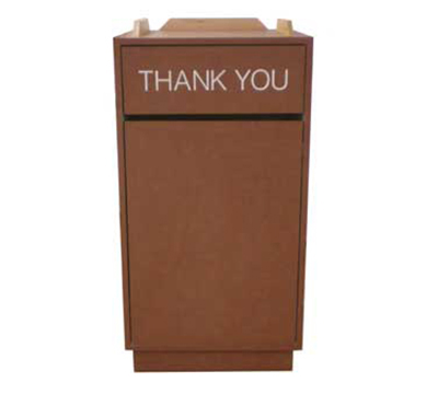 AAF TRBASIC Trash Receptacle w/ Thank You Stenciled Swing Door, 35-gal Rigid Liner, Melamine