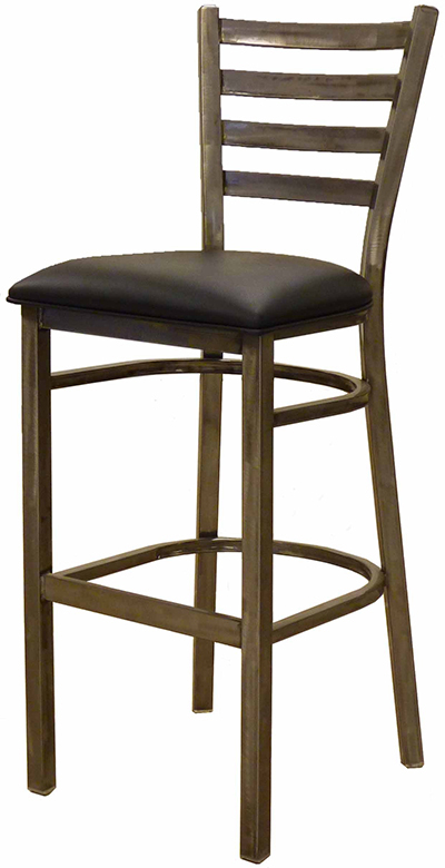 AAF MC403-BSBL Upholstered Barstool w/ Metal Ladder Back & Padded Seat, Clear C