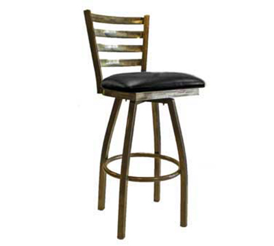 "AAF MC403-BSSBL Swivel Barstool - Metal Ladder Back, 2"" Padded"