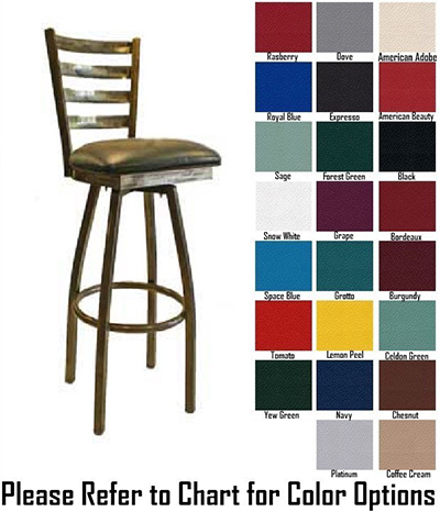 AAF MC403-BSSGR5 Upholstered Heavy Duty Swivel Barstool w/ Metal Ladder Back