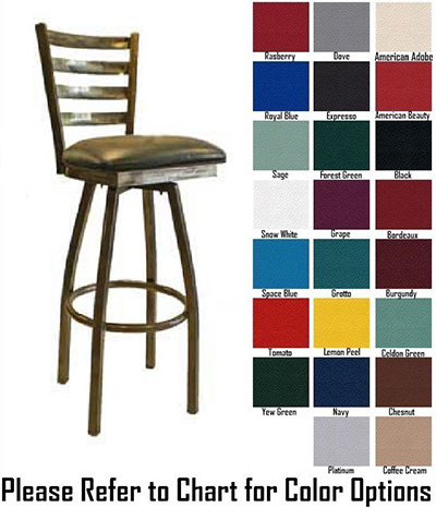 AAF MC403-BSSWS Heavy Duty Swivel Barstool w/ Metal Ladder Back & Solid Wood Seat,