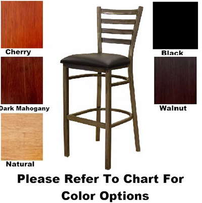 AAF MC403-BSWS Barstool w/ Metal Ladder Back, Veneer Wood Seat & Plastic Floor Glides,