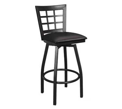 "AAF MC450-BSSBL Swivel Barstool - 9-Grid Metal Window Back, 2"" Padded Seat, Steel Frame"